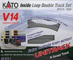 Kato Unitrack N Scale V14 Double Track Inner Loop w/Super-Elevated Curves & Concrete Ties