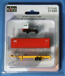 Kato N 31-620 White Yard Tractor & Chassis with 40' CAI Container