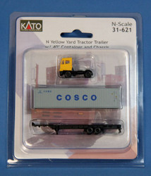 Kato N 31-621 Yellow Yard Tractor & Chassis with 40' COSCO Container
