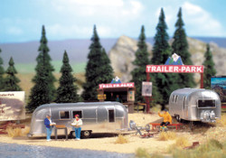Walthers SceneMaster 949-2902 Camp Site with Two Camping Trailers, Signs & Accessories - Kit