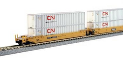Kato N 106-6173 Gunderson MAXI-lV Double Stack 3 Unit Well Cars TTX #732002 includes 6 x CN Intermodal 53' Containers