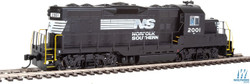 Walthers Mainline HO 910-10411 EMD GP9 Phase II with Chopped Nose Locomotive with Standard DC Norfolk Southern NS #2001