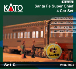 Kato N 106-6003 Santa Fe Super Chief Set C - 4 Passenger Sleeper Car Set