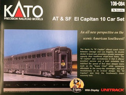 Kato N 106084 Santa Fe El Capitan 10 Car Passenger Set with display track