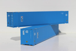 Jacksonville Terminal Company N 485015 48' High Cube 3-42-3 Corrugated Container American President Lines - APL vertical logo and faded paint 2-Pack