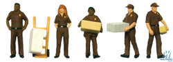 Walthers SceneMaster HO 949-6043 UPS Delivery Personnel with Handcart