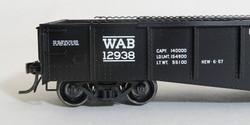 """Tangent Scale Models HO 10924-02 Bethlehem 52'6"""" 70 Ton Riveted Gondola Wabash Original 1957 - WAB #12938"""
