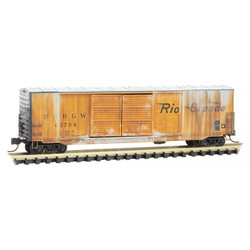 Micro Trains Line 182 44 110  50' Standard Double Door Box Car Weathered Denver & Rio Grande Western DRGW #63704
