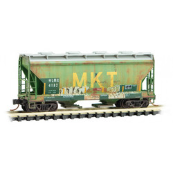 Micro Trains Line 092 44 040 2-Bay Covered Hopper  Weathered HLMX ex MKT #4182