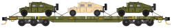 Micro Trains Line 993 01 810 DODX Flat Car Set Olive Drab with Humvees 3 - Pack