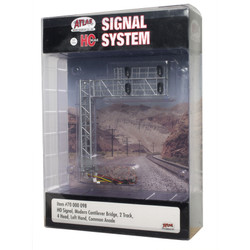 Atlas HO 70000098 Railroad Signal System - Modern Cantilever Bridge 2 Track - 4 Head Left