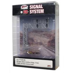 Atlas HO 70000098 Railroad Signal System - Modern Cantilever Bridge 2 Track - 4 Head Left