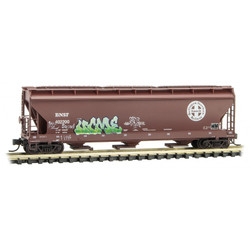 Micro Trains Line 094 44 430 3-Bay Covered Hopper w/ Elongated Hatches Weathered & Graffitied Burlington Northern Santa Fe BNSF #402200