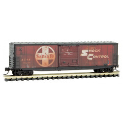 Micro Trains Line 180 44 140 50' Standard Boxcar 10' Single Door w/o Roofwalk Santa Fe Weathered ATSF #13238