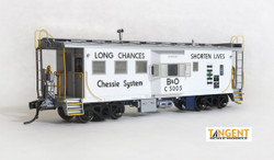 Tangent Scale Models HO 60015-01 International Car Company B&O Class I-18 Steel Bay Window Caboose White Chessie System Safety 1975+ B&O #C-3003