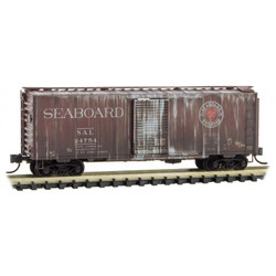 Micro Trains Line 993 05 630 40' Standard Single Door Box Cars - Weathered - Seaboard Air Line SAL #24754 & 25099 - 2 Pack