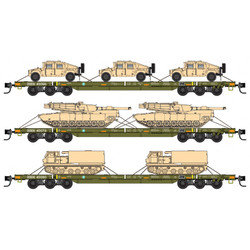 Micro Trains Line 99301811 DODX Flat Car Set Olive Drab with Reflectors 3 - Pack