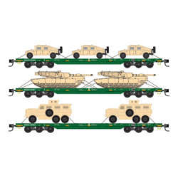 Micro Trains Line 993 01 613 DODX Flat Car Set Cascade Green with Military Vehicles 3 - Pack