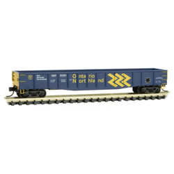 Micro Trains Line 10500191 50' Steel Side, 14 Panel, Fixed End Fishbelly Side Gondola Ontario Northland ONT #5061