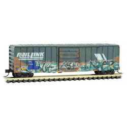Micro Trains Line 99305670 Weathered & Graffiti 50' Rib Side Single Door Boxcar Set Montana Rail Link - 4 Pack