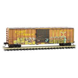 Micro Trains Line 02545012 50' Rib Side Single Door Boxcar Railbox Graffiti 'A Year In Railbox #6' RBOX #37241