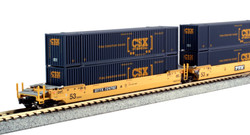Kato N 1066175 Gunderson MAXI-IV Double Stack Intermodal Well Car 3 unit set TTX 'Old Logo' with CSX Containers DTTX #724792