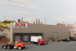 Walthers Cornerstone HO 933-4071 Modern Concrete Warehouse Background Building - Kit