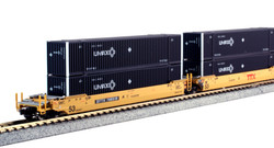 Kato N 1066176 Gunderson MAXI-IV Double Stack Intermodal Well Car 3 unit set TTX 'New Logo' with UMAX Containers DTTX #766519