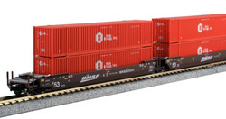 Kato N 1066178 Gunderson MAXI-IV Double Stack Intermodal Well Car 3 unit set BNSF 'Swoosh Logo' with Hub Group 'Red' Containers BNSF #253411