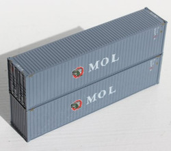 Jacksonville Terminal Company N 405050 40' High Cube  Container MOL 'Gator' logo 2-Pack