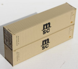 Jacksonville Terminal Company N 405080 40' High Cube  Container Mediterranean Shipping Company MSC 'Beige' 2-Pack