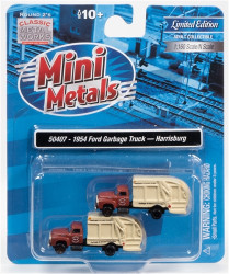 Classic Metal Works N 50407 1954 Ford Garbage Truck - Harrisburg DPW - 2 pack