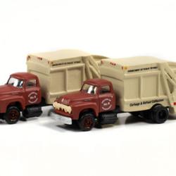 Classic Metal Works N 50407 1954 Ford Garbage Truck - Harrisburg DPW - 2 pack
