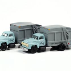 Classic Metal Works N 50408 1954 Ford Garbage Truck - Oceanside DPW - 2 pack