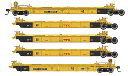 Walthers Mainline HO 910-55629 Thrall 5 Unit Rebuilt 40' Well Car TTX 'Small Red Logo' DTTX #748227 A-E