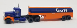 Trainworx N 55016 Vintage Fuel Tanker Peterbilt 350 Tractor Trailer Set - GULF
