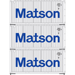 Athearn RTR HO ATH28854 20' Corrugated Container MATSON 3-pack