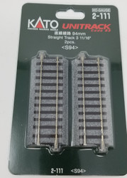 "Kato HO Unitrack 2-111 Straight Track 94mm 3 11/16"" 2 pieces"