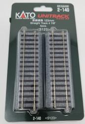 "Kato HO Unitrack 2-140 Straight Track 123mm 4 7/8"" 4 pieces"
