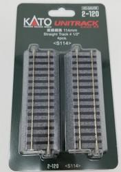 "Kato HO Unitrack 2-120 Straight Track 114mm 4 1/2"" 4 pieces"