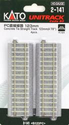 "Kato HO Unitrack 2-141 Concrete Tie Straight Track 123mm 4 7/8"" 4 pieces"