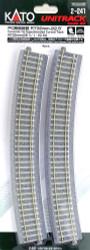 "Kato HO Unitrack 2-241 Concrete Tie Superelevated Curve Track 730mm 28 3/4"" Radius – 22.5 degrees 4 pieces"