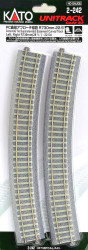 "Kato HO Unitrack 2-242 Concrete Tie Superelevated Easement Curve Track 730mm 28 3/4"" Radius – 22.5 degrees 1 Left + 1 Right"