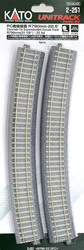 "Kato HO Unitrack 2-251 Concrete Tie Superelevated Curve Track 790mm 31 1/8"" Radius – 22.5 degrees 4 pieces"