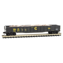 Micro Trains Line 105 00 320 50' Steel Side 14 Panel Fixed End Fishbelly Side Gondola Chessie System B&O 360814