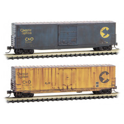 Micro Trains Line 993 05 740 50' Standard & Plug Single Door Box Cars - Weathered - Chessie System C&O #21441 & 22823 - 2 Pack