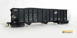 Tangent Scale Models HO 24060-20 Pullman-Standard PS 4000 HT Triple Coal Hopper Chicago and North Western Ph 2 'Black Delivery 1975+' CNW #135284