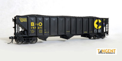 Tangent Scale Models HO 24160-08 Pullman-Standard PS 3526 HT Triple Coal Hopper Chessie System 'Black Delivery 1975+' B&O #197447