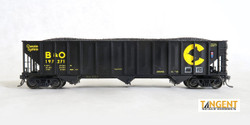Tangent Scale Models HO 24160-12 Pullman-Standard PS 3526 HT Triple Coal Hopper Chessie System 'Black Delivery 1975+' B&O #197529
