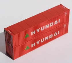 Jacksonville Terminal Company N 405557 40' Standard Height Square Corrugated Container HYUNDAI 2-Pack